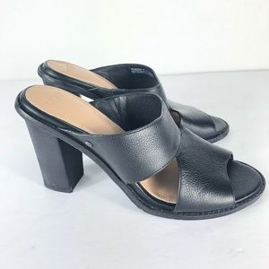 UGG Celia Black Sandals Heels Leather
